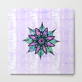 Hand Drawn Watercolor Flower on Purple Tie Dye Metal Print