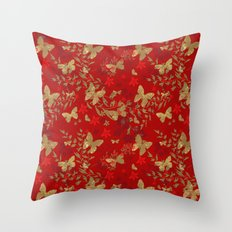 Grunge brown butterfly on a red floral background . Throw Pillow
