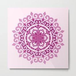 Pink Mandala on Baby Pink Background Metal Print