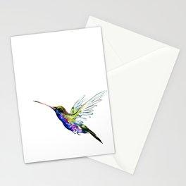 Flying Hummingbird, Blue green wall art minimalist bird Stationery Cards