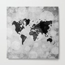 World map - desaturated Metal Print