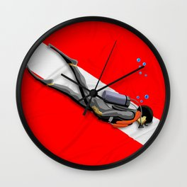 Diver And Dive Flag Wall Clock