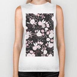 Blush pink white black rustic abstract floral illustration Biker Tank