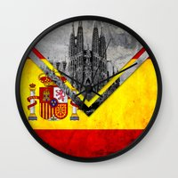 spain Wall Clocks featuring Flags - Spain by Ale Ibanez