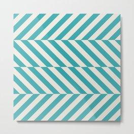 Teal Turquoise Aqua and Alabaster White Hypnotic Angled Stripe Pattern - Aquarium SW 6767 Metal Print