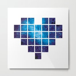 Amazing blue pixel heart with watercolor Galaxy Metal Print