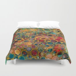 Dots on Painted and Gold Background Duvet Cover
