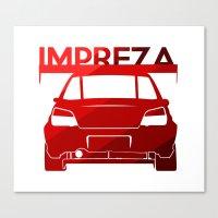 subaru Canvas Prints featuring Subaru Impreza - classic red - by Vehicle