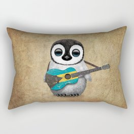 Baby Penguin Playing Bahamas Flag Acoustic Guitar Rectangular Pillow