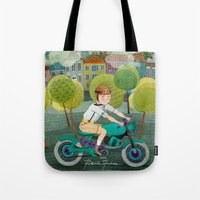 motorcycle Tote Bags featuring Motorcycle by Rebekka Ivacson