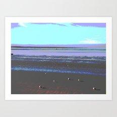 Seagulls on the Beach Art Print