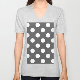 Large Polka Dots - White on Dark Gray Unisex V-Neck