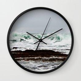 Green Wave Breaking Wall Clock
