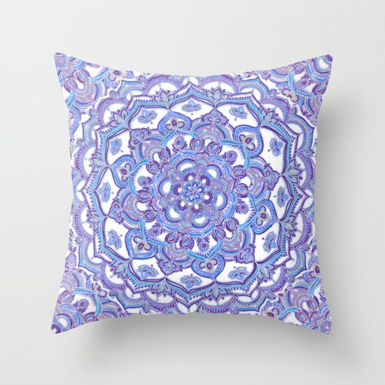 Throw Pillow Lilac : Lilac Spring Mandala - floral doodle pattern in purple & white Throw Pillow by Micklyn Society6