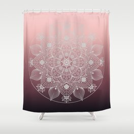 White Lace Flowers and Leaves Floral Mandala on Dusty Rose Pink Shower Curtain