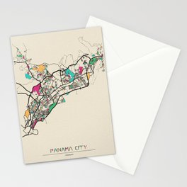Colorful City Maps: Panama City, Panama Stationery Cards