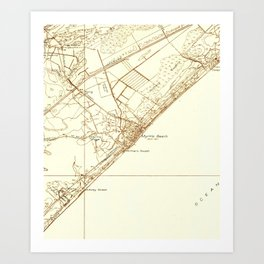 Vintage Map of Myrtle Beach South Carolina (1937) Art Print