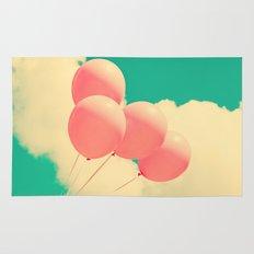 Happy Pink Balloons on retro blue sky  Rug