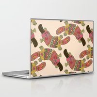 platypus Laptop & iPad Skins featuring duck-billed platypus linen by Sharon Turner