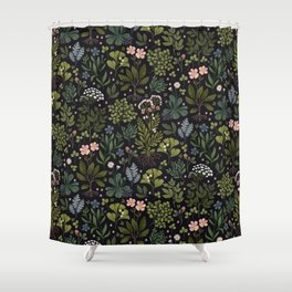 Herbarium ~ vintage inspired botanical art print ~ black Shower Curtain