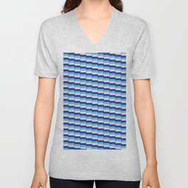 Staggered Oblong Rounded Lines Blues and White - Stripe Pattern Unisex V-Neck