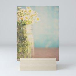 A mason jar full of pretty flowers. Mini Art Print