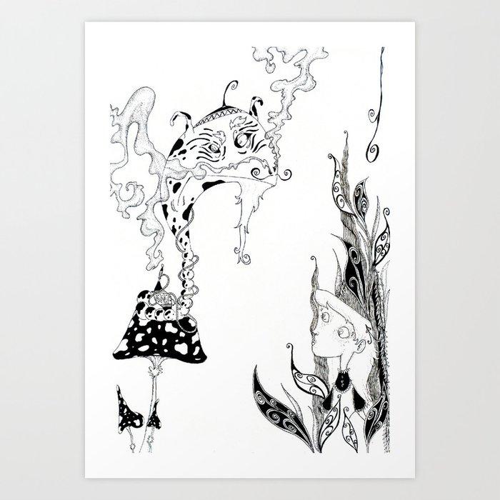 Alice meets Caterpillar Art Print