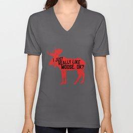 Moose Lover - I Just Really Like Moose Unisex V-Neck