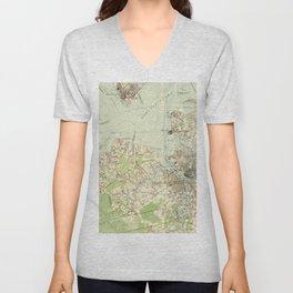 Vintage Map of The Hampton Roads (1918) Unisex V-Neck