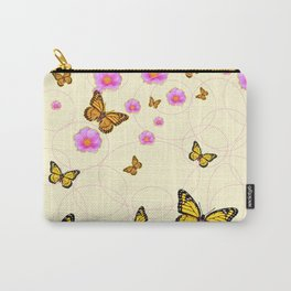 YELLOW-ORANGE MONARCH BUTTERFLIES PINK ROSES  MONTAGE Carry-All Pouch