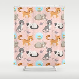 Cute Cat and Fish Pattern – Light Pink Polka Dots Shower Curtain