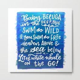 Baby Beluga Metal Print