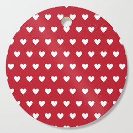 Polka Dot Hearts - red and white Cutting Board