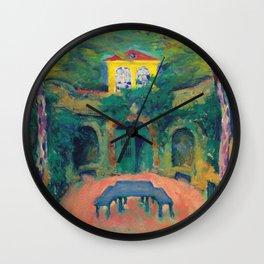 "Koloman Moser ""Yellow house in a landscape"" Wall Clock"