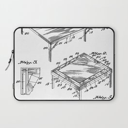 Table Tennis Patent - Tennis Art - Black And White Laptop Sleeve