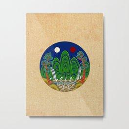 Minhwa: Sun, Moon and 5 Mountains: King's painting C_1 Type (Korean traditional/folk art) Metal Print