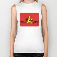 vietnam Biker Tanks featuring Vietnam Flag, Roosters Sparring by mailboxdisco
