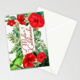Mele Kalikimaka Hawaiian Red Hibiscus Christmas Stationery Cards