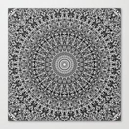 Grey Geometric Floral Mandala Canvas Print