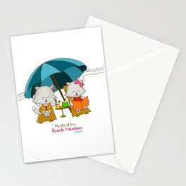 Romantic Kitten Fluffy Tales, My Idea Of Love: Beach Vacation (MIOL) Stationery Cards