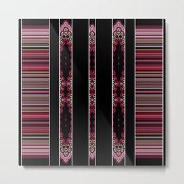 Aztec Inspired Pink Rose Multi Pattern Design Metal Print