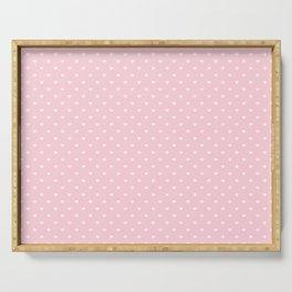 White Polka Dot Hearts on Light Soft Pastel Pink Serving Tray