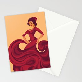 flamenco gypsy soul dancer in red florid dress Stationery Cards