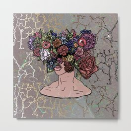 Floral View - V2 Man with Flowers Ink Drawing Metal Print