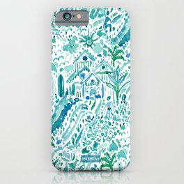 IDEAL BEACH HOUSE Aqua Watercolor Print iPhone Case
