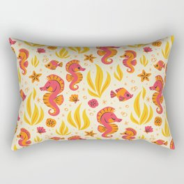 Seahorses (Orange & Pink) Rectangular Pillow