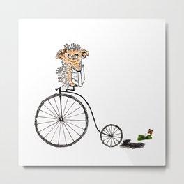 Farthing bike hedgehog Metal Print