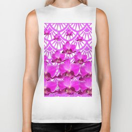 PURPLE ART DECO PATTERN ORCHIDS PATTERN ABSTRACT Biker Tank
