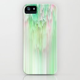 Abstract Cascade Glitch 1.Green iPhone Case