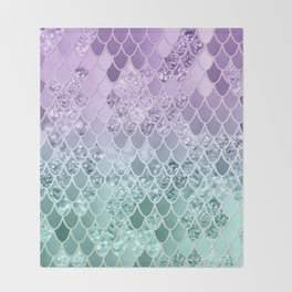 Mermaid Glitter Scales #1 #shiny #decor #art #society6 Throw Blanket